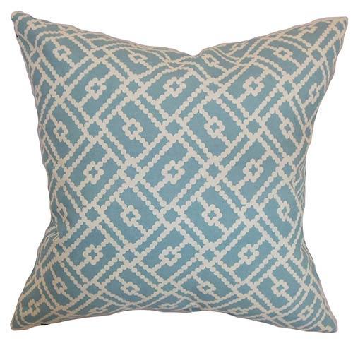 The Pillow Collection Majkin Turquoise 18 x 18 Geometric Throw Pillow
