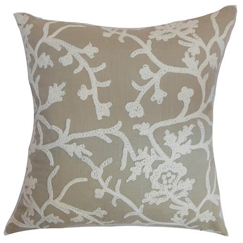 The Pillow Collection Paksane Gray 18 x 18 Floral Throw Pillow