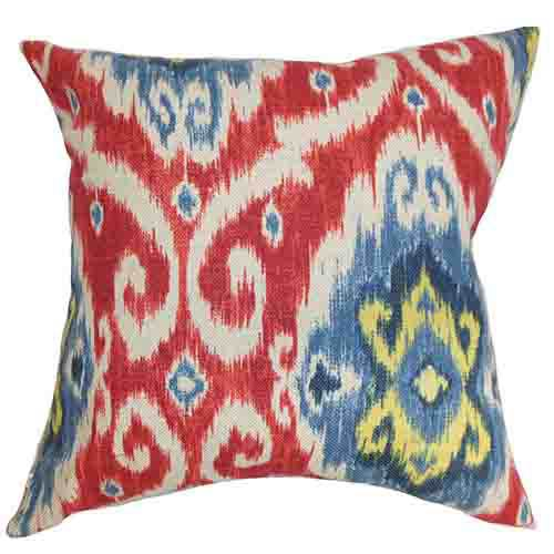 Deandre Red and Blue 18 x 18 Ikat Throw Pillow