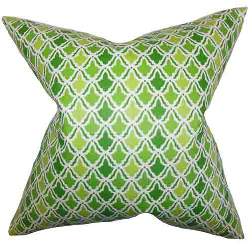 The Pillow Collection Oan Green 18 x 18 Geometric Throw Pillow