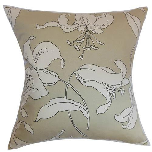 The Pillow Collection Elorza Neutral 18 x 18 Floral Throw Pillow