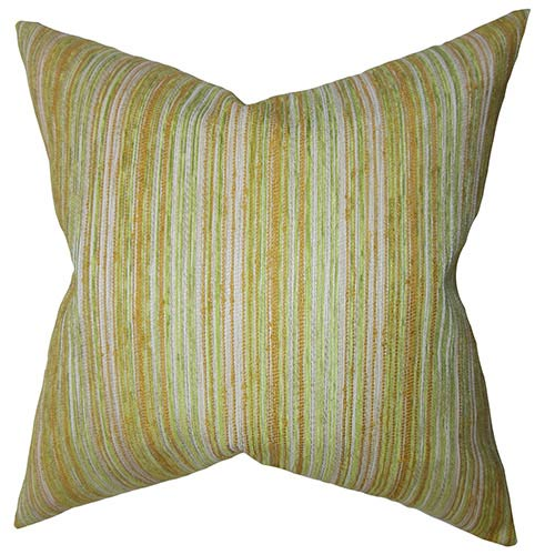 The Pillow Collection Bartram Gold and Green 18 x 18 Stripes Throw Pillow