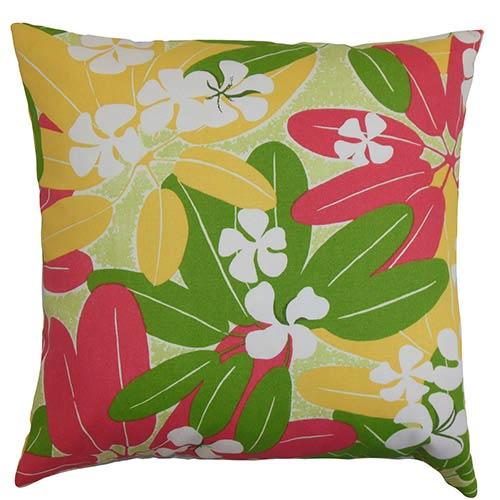 The Pillow Collection Hea Green 18 x 18 Floral Throw Pillow