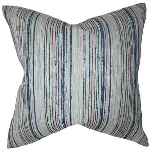 Bartram Blue 18 x 18 Stripes Throw Pillow
