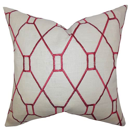 The Pillow Collection Nevaeh Red 18 x 18 Geometric Throw Pillow