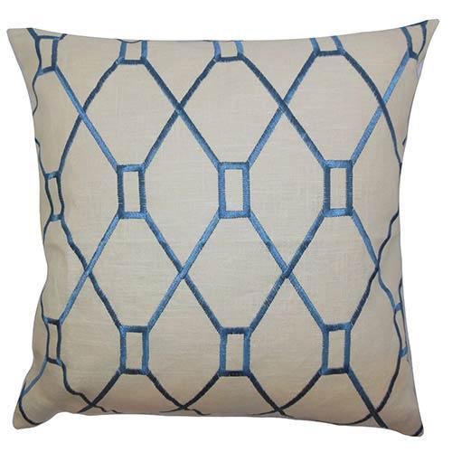 The Pillow Collection Nevaeh Blue 18 x 18 Geometric Throw Pillow