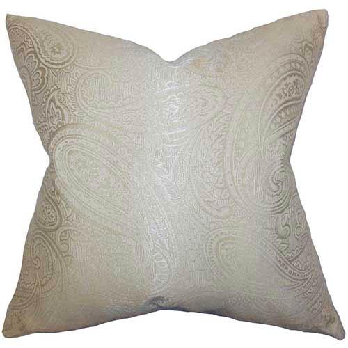 Cashel Neutral 18 x 18 Paisley Throw Pillow