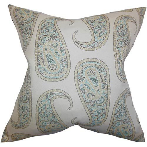 The Pillow Collection Amahl Blue 18 x 18 Paisley Throw Pillow