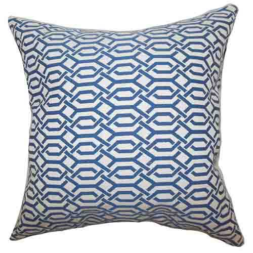 The Pillow Collection Catriona Blue 18 x 18 Geometric Throw Pillow
