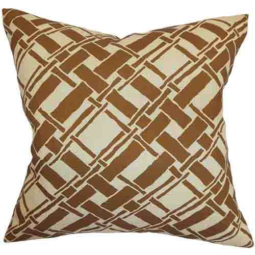 The Pillow Collection Rygge Brown 18 x 18 Patterned Throw Pillow