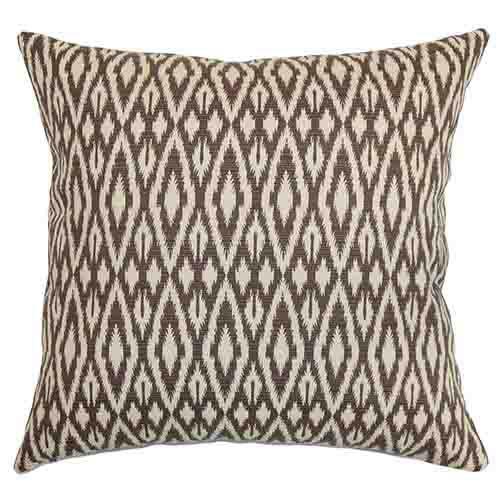 The Pillow Collection Hafoca Brown 18 x 18 Ikat Throw Pillow