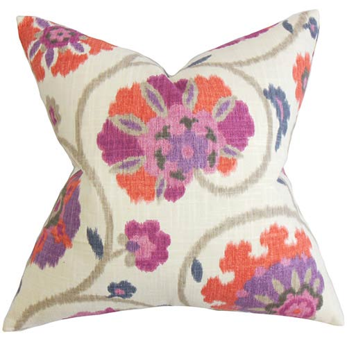 The Pillow Collection Tarian Purple 18 x 18 Floral Throw Pillow