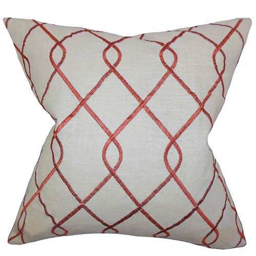 The Pillow Collection Jolo Red 18 x 18 Geometric Throw Pillow