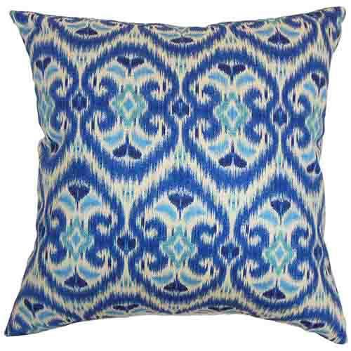 The Pillow Collection Zhambyl Blue 18 x 18 Geometric Throw Pillow