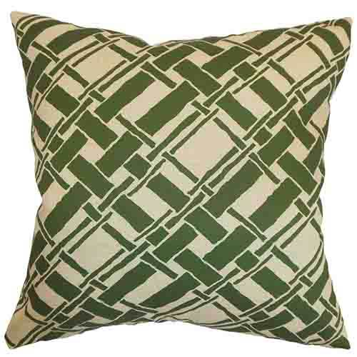 The Pillow Collection Rygge Natural Green 18 x 18 Patterned Throw Pillow
