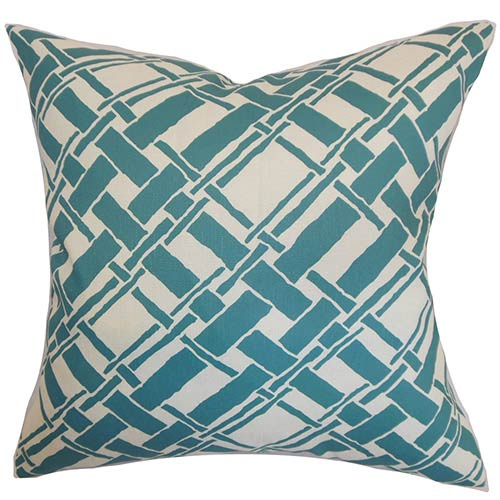 The Pillow Collection Rygge Aqua 18 x 18 Patterned Throw Pillow