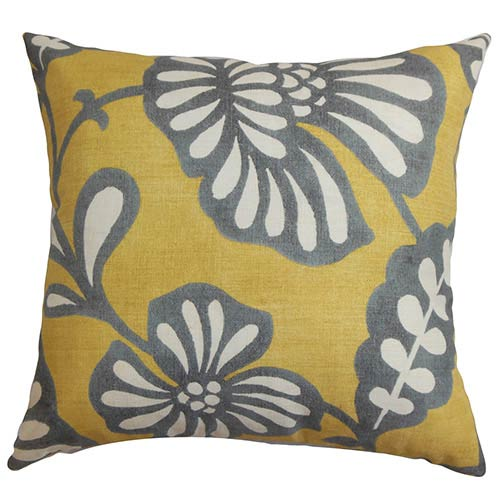 The Pillow Collection Talin Yellow 18 x 18 Floral Throw Pillow