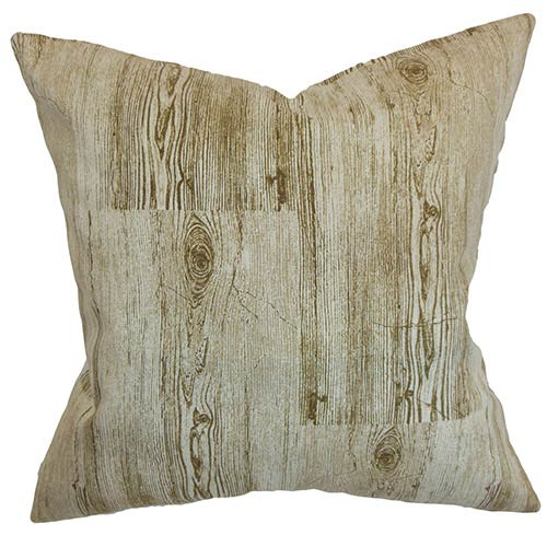 The Pillow Collection Kratie Brown 18 x 18 Patterned Throw Pillow