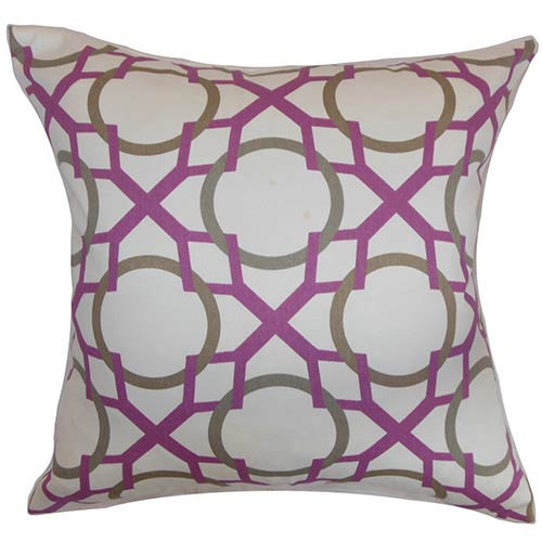 The Pillow Collection Lacbiche Purple 18 x 18 Geometric Throw Pillow