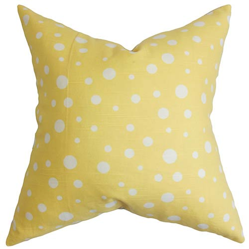 The Pillow Collection Bebe Yellow and White 18 x 18 Dots Throw Pillow