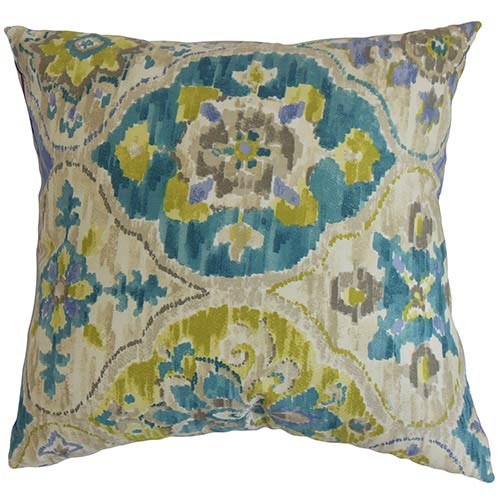 The Pillow Collection Vina Green 18 x 18 Floral Throw Pillow