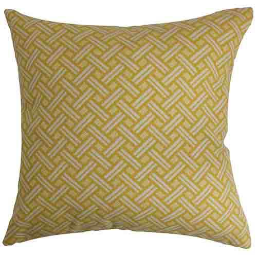 The Pillow Collection Nevin Gold 18 x 18 Geometric Throw Pillow