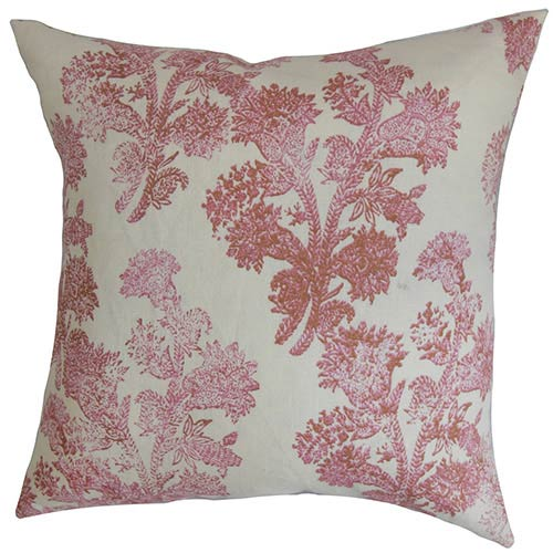 The Pillow Collection Eara Red 18 x 18 Floral Throw Pillow