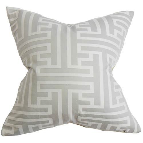 The Pillow Collection Roscoe Gray 18 x 18 Geometric Throw Pillow