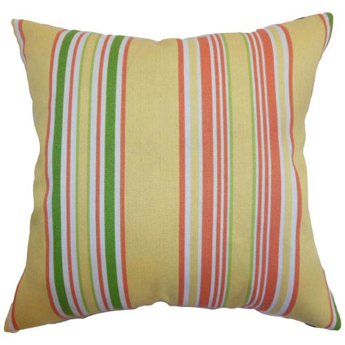 The Pillow Collection Fergus Stripes Pillow Canary