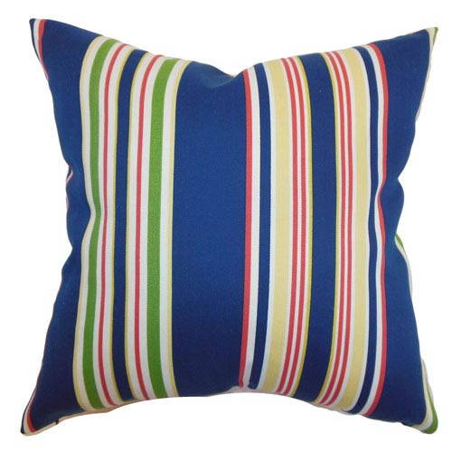 The Pillow Collection Fergus Stripes Pillow Navy