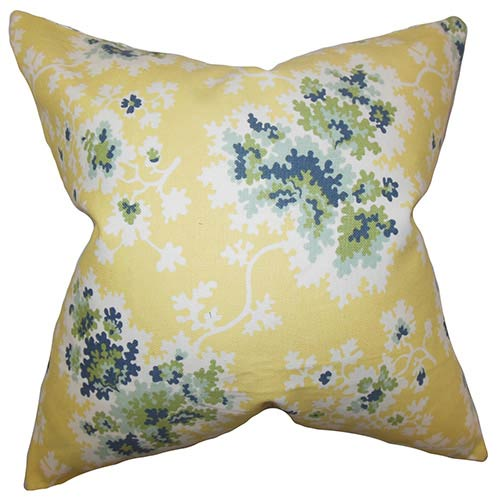 The Pillow Collection Danique Yellow 18 x 18 Floral Throw Pillow