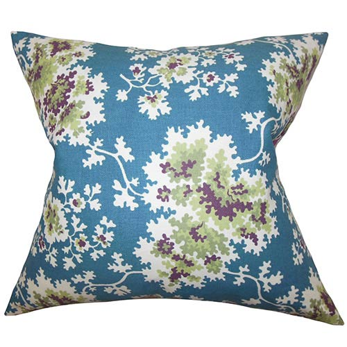 The Pillow Collection Danique Blue 18 x 18 Floral Throw Pillow