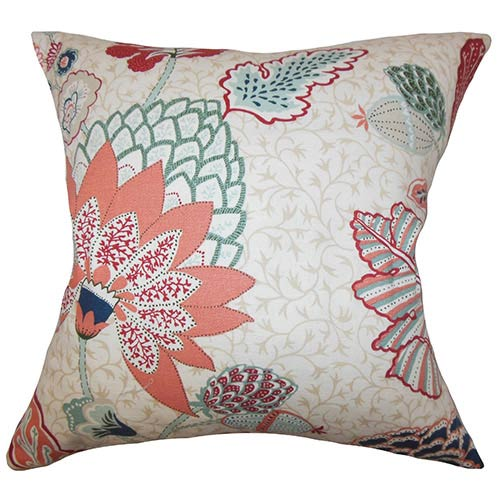 The Pillow Collection Ahna Red 18 x 18 Floral Throw Pillow