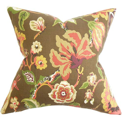 The Pillow Collection Chaya Chocolate Brown 18 x 18 Floral Throw Pillow