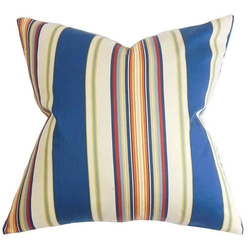 The Pillow Collection Douce Multicolor 18 x 18 Stripes Throw Pillow