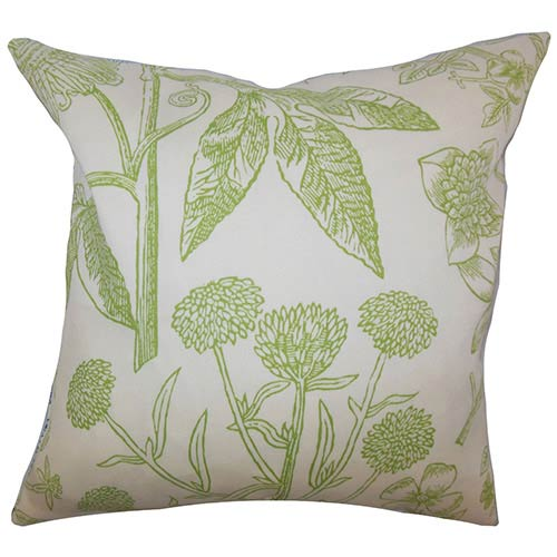 The Pillow Collection Neola Green 18 x 18 Floral Throw Pillow