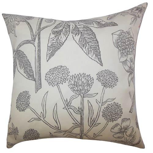 The Pillow Collection Neola Gray 18 x 18 Floral Throw Pillow