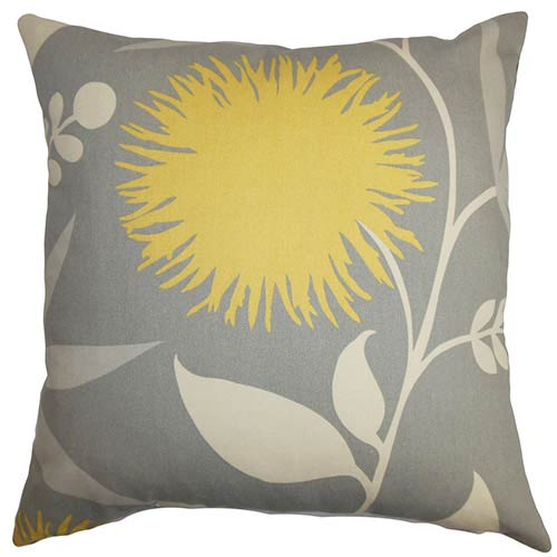 The Pillow Collection Huberta Gray and Yellow 18 x 18 Floral Throw Pillow