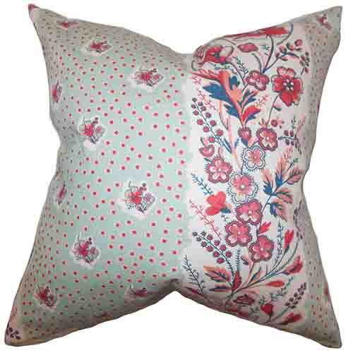 The Pillow Collection Elske Sea Green 18 x 18 Floral Throw Pillow