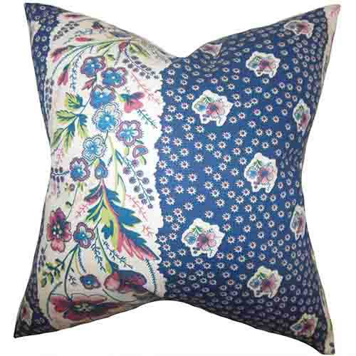 The Pillow Collection Elske Blue 18 x 18 Floral Throw Pillow