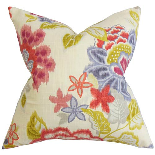 The Pillow Collection Vasant Pink 18 x 18 Floral Throw Pillow