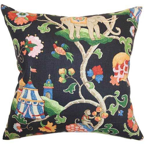 The Pillow Collection Faylinn Black 18 x 18 Floral Throw Pillow