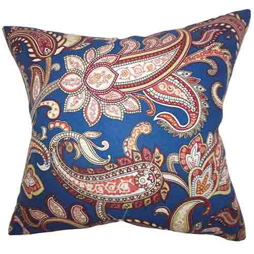 The Pillow Collection Galila Navy Blue 18 x 18 Floral Throw Pillow