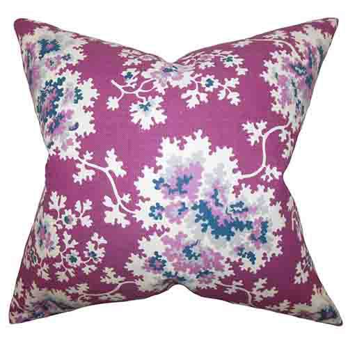 The Pillow Collection Danique Purple 18 x 18 Floral Throw Pillow