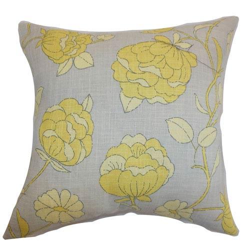 The Pillow Collection Lalomalava Floral Pillow Grey