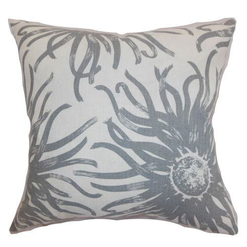 The Pillow Collection Ndele Floral Pillow Grey