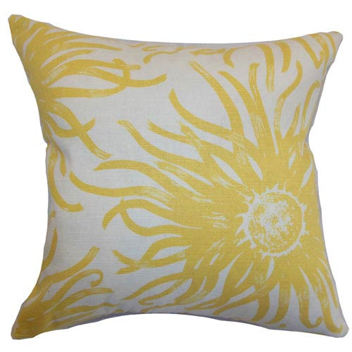 The Pillow Collection Ndele Floral Pillow Yellow