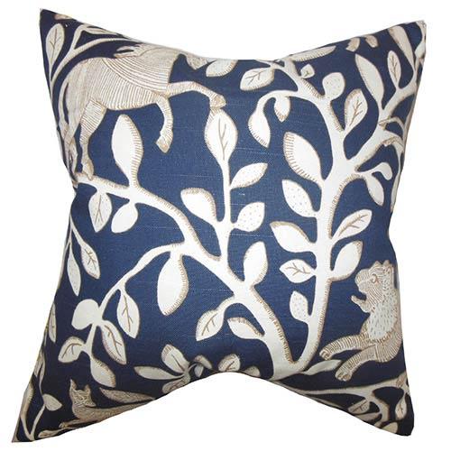 The Pillow Collection Jorja Blue 18 x 18 Floral Throw Pillow