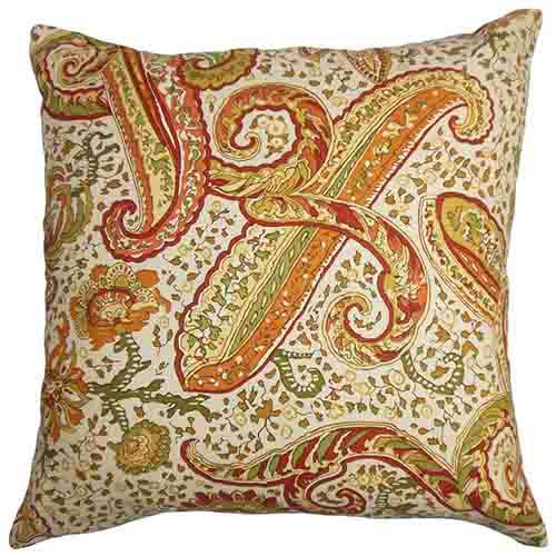 The Pillow Collection Berit Orange 18 x 18 Floral Throw Pillow