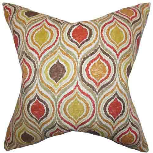 The Pillow Collection Xylon Orange 18 x 18 Geometric Throw Pillow